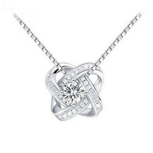 NEW 925 Sterling Silver Crystal Necklace